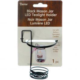 "Mason Jar Tealight Holder 3""X2.625""X4.25"" Black - 6614189"
