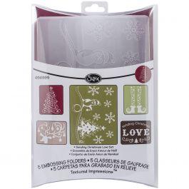 Sizzix Textured Impressions A2 Embossing Folders 5/Pkg Sending Christmas Love - 656985