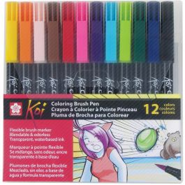 Koi Coloring Brush Pens 12/Pkg Assorted - XBR-12SA