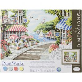 "Paint Works Paint By Number Kit 14""X11"" Cafe By The Sea - 91455"