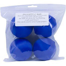 """Handy Hands Decor Satin Covered Styrofoam Balls 3"""" 4/Pkg Dark Blue - SBN3-DB"""
