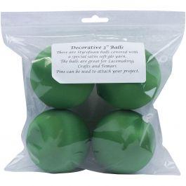 "Handy Hands Decor Satin Covered Styrofoam Balls 3"" 4/Pkg Christmas Green - SBN3-CG"