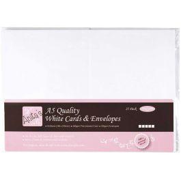 Anita'S Cards W/Envelopes A5 25/Pkg White - A1514020