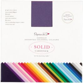 "Papermania Premium Smooth Solid Cardstock Pack 6""X6"" 75/Pkg Colossal - PM164402"