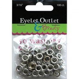"Eyelet Outlet Eyelets & Washers 3/16"", 50 Eyelets, 50 Washers - QEYE-169"