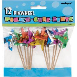 "Pinwheel Picks 4"" 12/Pkg Assorted Colors - 49141"