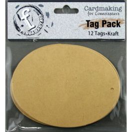 "Fundamentals Oval Tags 12/Pkg 4.125""X3.125"" Kraft - FNT29"