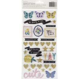 Maggie Holmes Willow Lane Thickers Stickers 70/Pkg Wonderful Phrase/Foam & Cardstock - 344487