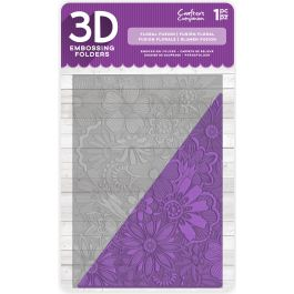 """Crafter'S Companion 3D Embossing Folder 5""""X7"""" Floral Fusion - EF3D-FFUS"""