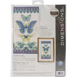 "Dimensions Counted Cross Stitch Kit 8""X15"" Peacock Butterflies (14 Count) - 70-35323"
