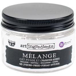 Finnabair Art Ingredients Melange Art Pebbles 46/Pkg Assorted Sizes - 963323
