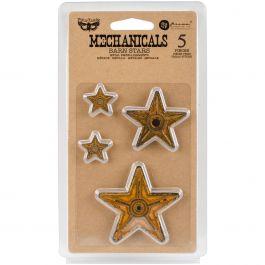 Finnabair Mechanicals Metal Embellishments Barn Stars 5/Pkg - 963392