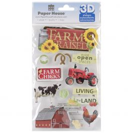 "Paper House 3D Stickers 4.5""X7.5"" Farm Raised - STDM182E"