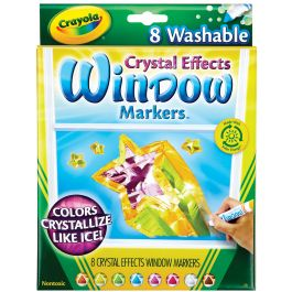 Crayola Crystal Effects Washable Window Markers Assorted Colors 8/Pkg - 58-8174