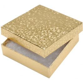 """Jewelry Boxes 3.5""""X3.5""""X.875"""" 6/Pkg Gold - 1164-92"""