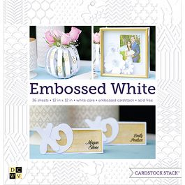 """Dcwv Single Sided Cardstock Stack 12""""X12"""" 36/Pkg Embossed White Solid, 12 Designs/3 Each - PS002010"""