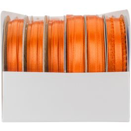 Offray Spool O' Ribbon Woven Edge Solid Assortment 24/pkg-Orange