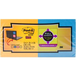 "Post It Super Sticky Full Adhesive Notes 3""X3"" 12/Pkg Rio De Janiero - F330-12S"