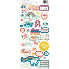"Wild Child Cardstock Stickers 5.5""X11"" 2/Pkg Girl W/Teal Foil - 310596"