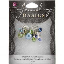 Jewelry Basics Metal Charms Aqua Glass & Metal Bead Cluster 11/Pkg - JBCHARM-8460