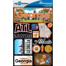 "Jet Setters State Dimensional Stickers 4.5""X7.5"" Georgia - JST00-9"