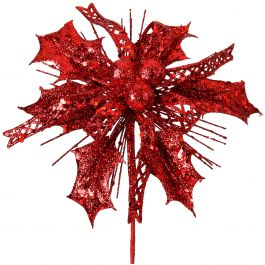 "Glitter Ribbon Berry Holly Pick 7"" Red - 55077RED"