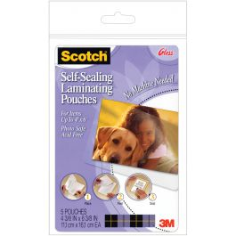 """Scotch Self Sealing Laminating Pouches 5/Pkg 4""""X6"""" - PL900-3M-GLOSS"""