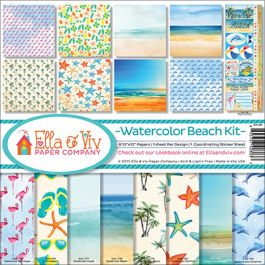 "Ella & Viv Collection Kit 12""X12"" Watercolor Beach - EAV803"