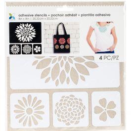 "Momenta Adhesive Stencils 8""X8"" Flowers - 27714"
