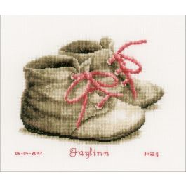 """Vervaco Counted Cross Stitch Kit 7.25""""X6"""" Baby Shoes On Aida (14 Count) - V0162101"""