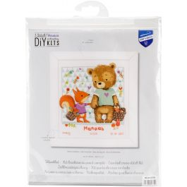 "Vervaco Counted Cross Stitch Kit 10.75""X11.25"" Bear & Squirrel On Aida (14 Count) - V0162670"