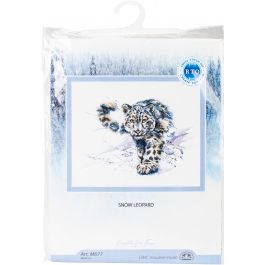 """Rto Counted Cross Stitch Kit 14.25""""X9"""" Snow Leopard (16 Count) - M677"""