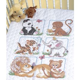 "Dimensions Quilt Stamped Cross Stitch Kit 34""X43"" Animal Babies - 13083"