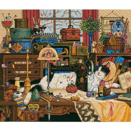 """Dimensions Gold Collection Counted Cross Stitch Kit 14""""X12"""" Maggie The Messmaker (18 Count) - 3884"""