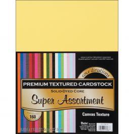 "Core'Dinations Value Pack Canvas Cardstock 8.5""X11"" 160/Pkg Textured Super Assortment - GX220024"
