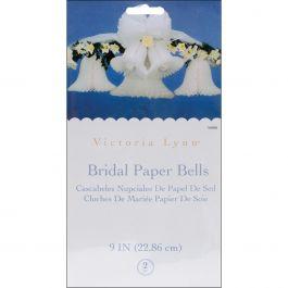"Victoria Lynn Bridal Paper Bells 9"" 2/Pkg White - VL0262"