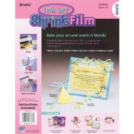 "Grafix Ink Jet Shrink Film 8.5""X11"" 6/Pkg White - KSF6-WIJ"