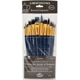 Black Taklon Value Pack Brush Set 12/Pkg - RSET9302