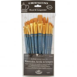 Gold Taklon Flat Value Pack Brush Set 12/Pkg - RSET9305