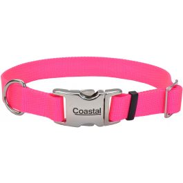 "Adjustable Nylon 1"" Dog Collar With Titan Metal Buckle Neon Pink, Neck Size 14"" 20"" - 61962-NPK20"