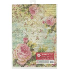 Stamperia Rice Paper Sheet A4 Rose & Writings - DFSA4204