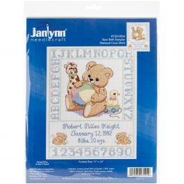 "Janlynn Stamped Birth Sampler Cross Stitch Kit 11""X14"" Bear - 135-0004"