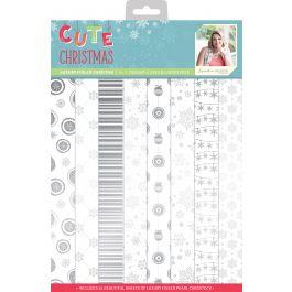 Sara Davies Signature Luxury Cardstock Pad A4 24/Pkg Cute Christmas Foiled, Pearl - SCCPADA4