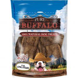 Pure Buffalo Lung Steaks Dog Treat 4Oz  - LP5662