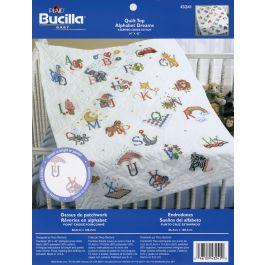 "Bucilla Stamped Cross Stitch Baby Quilt Top 34""X43"" Alphabet Dreams - 43241"