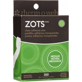 "Zots Clear Adhesive Dots Medium 3/8""X1/64"" Thick 300/Pkg - 37-84"