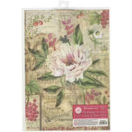 Stamperia Rice Paper Sheet A4 Peony With Red Berries - DFSA4264