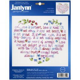 """Janlynn Stamped Cross Stitch Kit 12""""X10"""" Love Is Patient - 187-0301"""