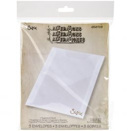 Sizzix Plastic Storage Envelopes 3/Pkg By Tim Holtz For Dies & Stamps - 658729