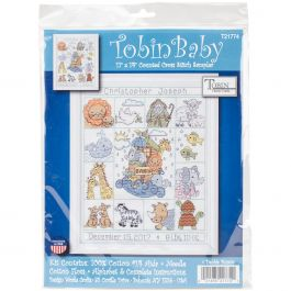 "Tobin Counted Cross Stitch Kit 11""X14"" Noah'S Ark Birth Record (14 Count) - T21774"